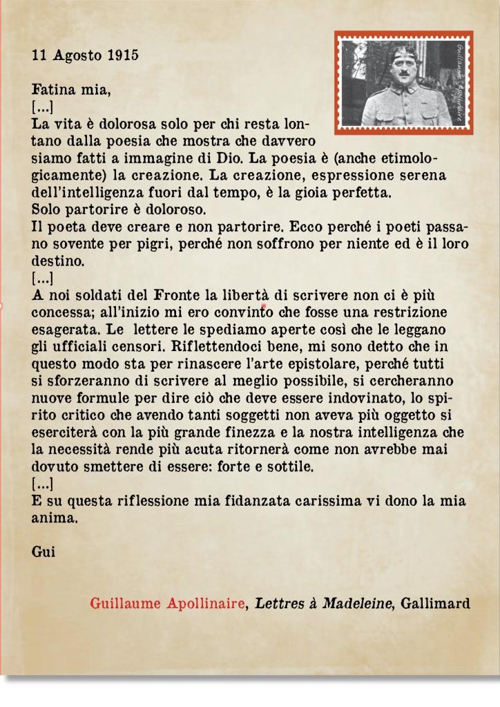 lettera apollinaire montata